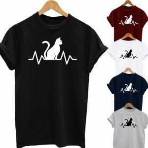Buy Best Slogan Tee Cat Is My Heart Beat T Shirt 2020