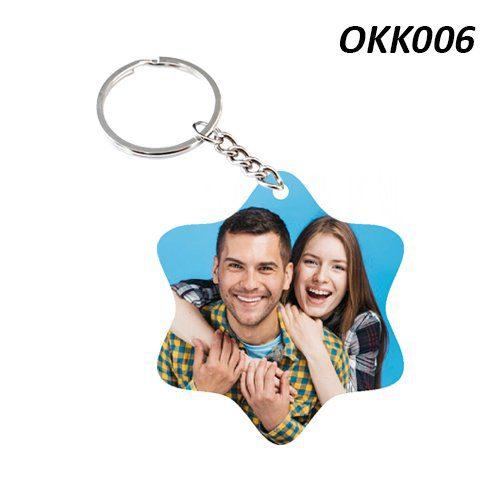Wooden Keychain Star OKK06
