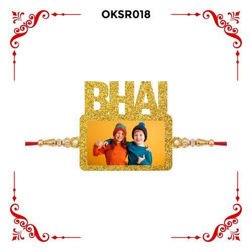 Personalized Bhai Text Photo Rakhi OKSR018