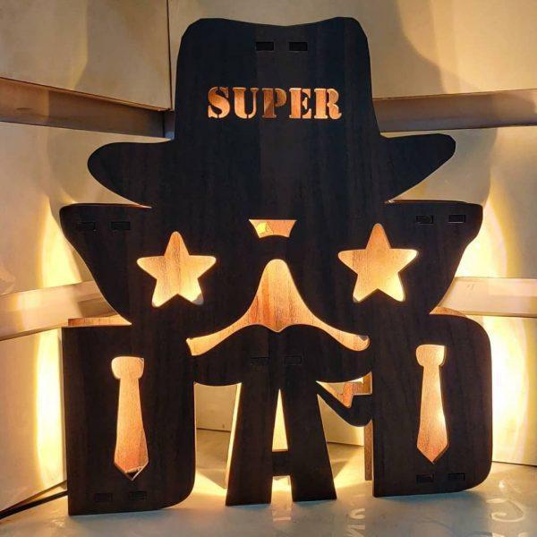 Wooden Super DAD LED Name Board